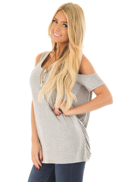 Heather Grey Cold Shoulder Top with Back Detail front close up