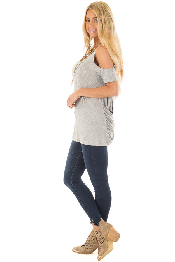 Heather Grey Cold Shoulder Top with Back Detail side full body