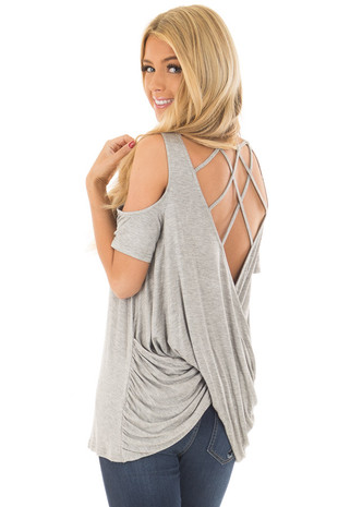 Heather Grey Cold Shoulder Top with Back Detail back side close up