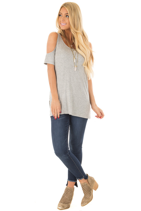 Heather Grey Cold Shoulder Top with Back Detail front full body