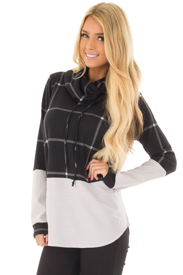 Black Window Pane Cowl Neck Top with Stripe Contrast front close up