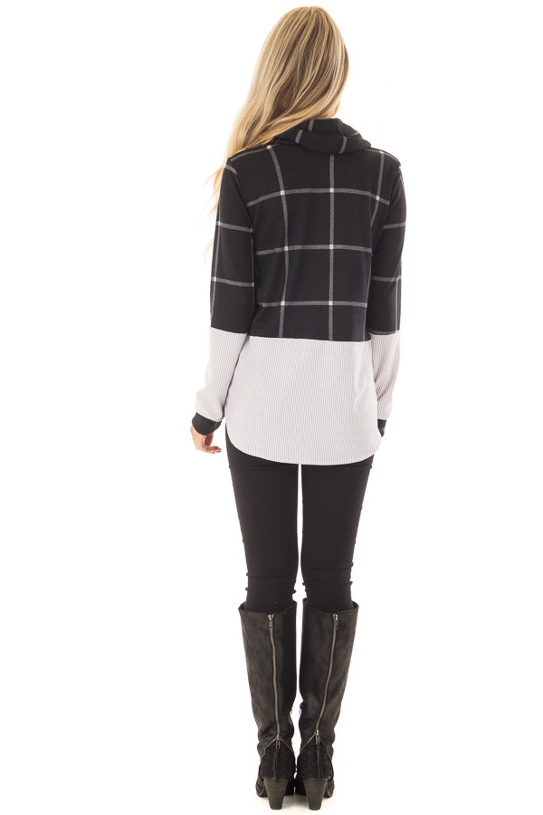 Black Window Pane Cowl Neck Top with Stripe Contrast back full body