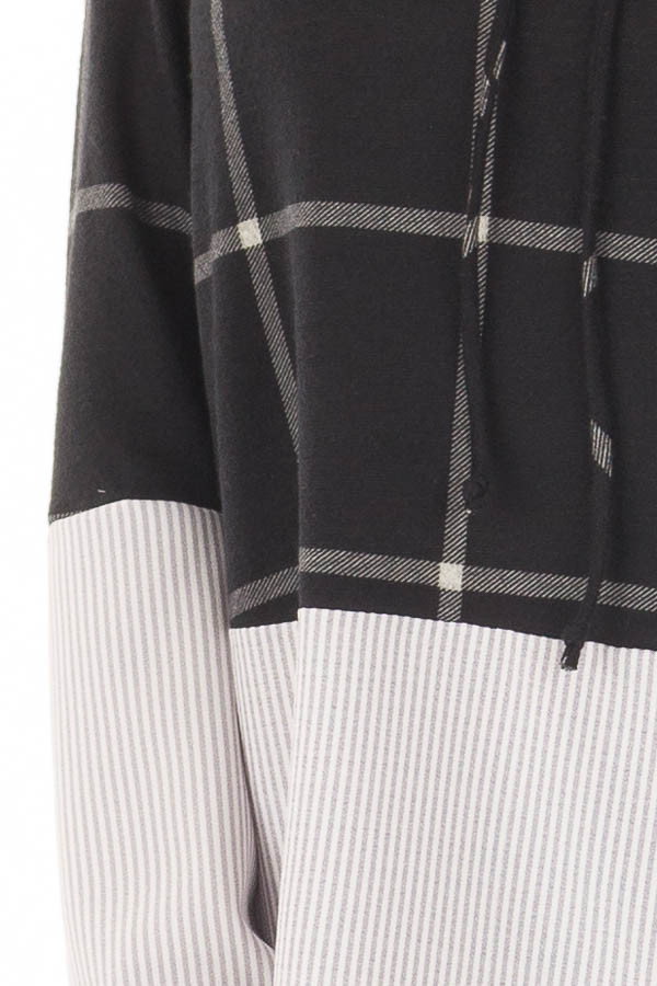 Black Window Pane Cowl Neck Top with Stripe Contrast detail