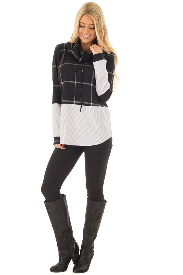 Black Window Pane Cowl Neck Top with Stripe Contrast front full body