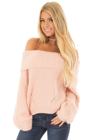 Blush Off the Shoulder Sweater front close up