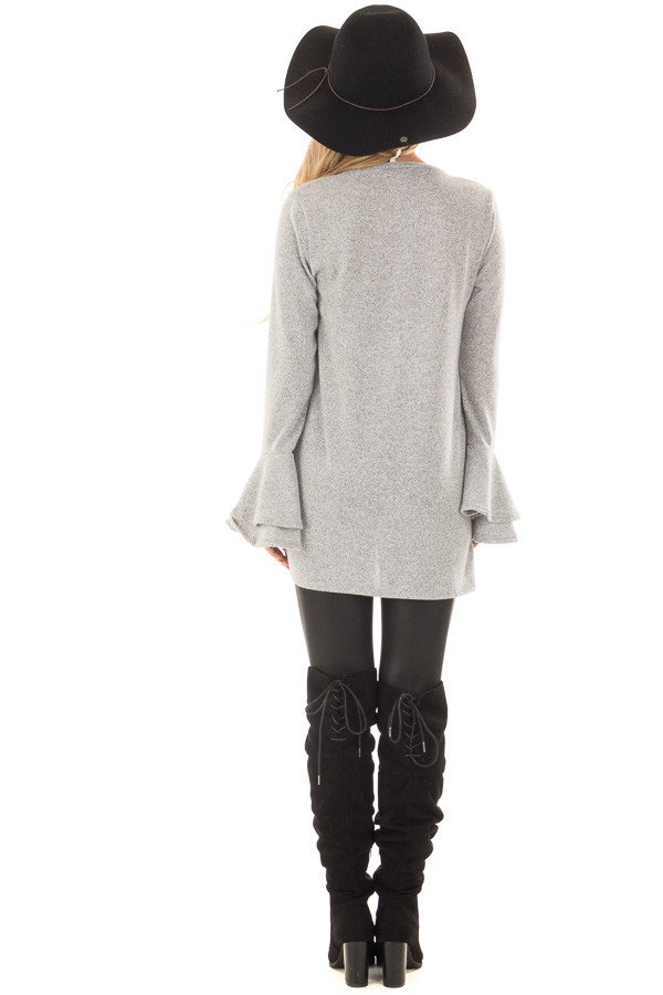 Heather Grey Top with Tiered Bell Sleeves and Front Twist back full body