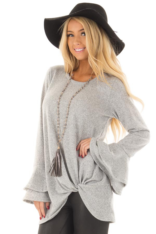 Heather Grey Top with Tiered Bell Sleeves and Front Twist front close up
