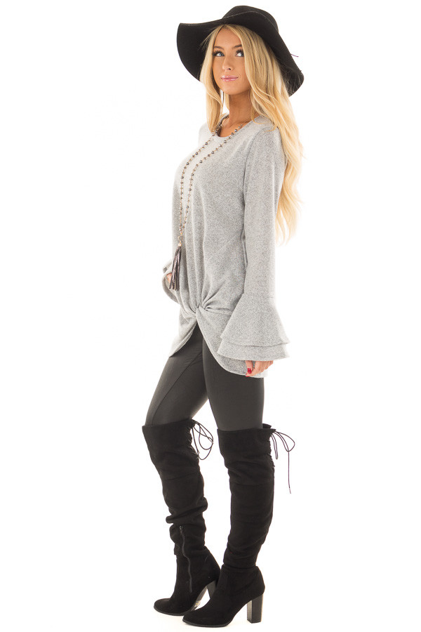 Heather Grey Top with Tiered Bell Sleeves and Front Twist side full body