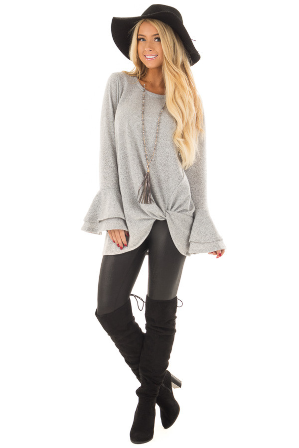 Heather Grey Top with Tiered Bell Sleeves and Front Twist front full body