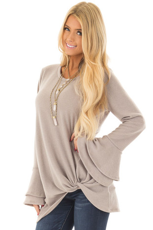 Taupe Top with Tiered Bell Sleeves and Front Twist front close up