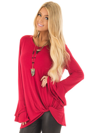 Lipstick Red Tiered Bell Sleeve Top with Side Twist Detail front close up