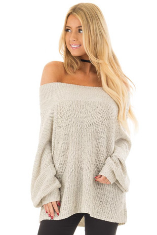 Cookies N Cream Fold Over Off the Shoulder Sweater front close up