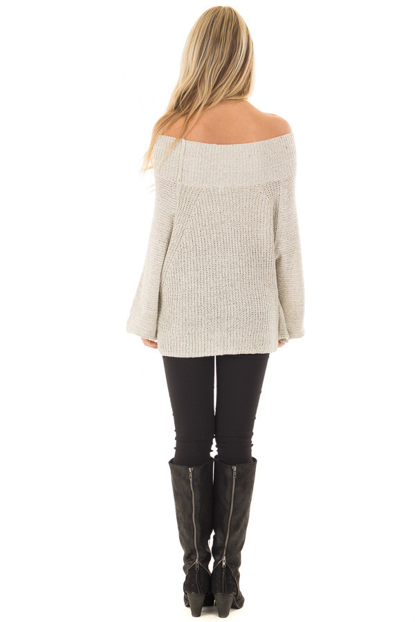Cookies N Cream Fold Over Off the Shoulder Sweater back full body