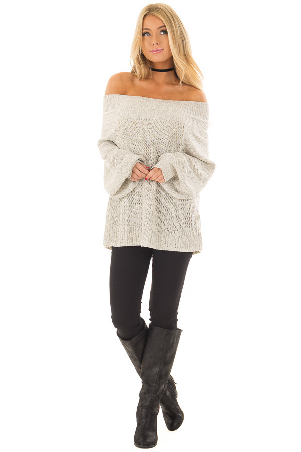 Cookies N Cream Fold Over Off the Shoulder Sweater front full body