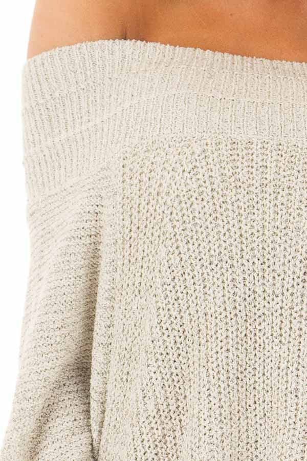 Cookies N Cream Fold Over Off the Shoulder Sweater detail