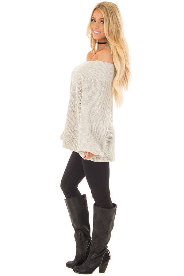Cookies N Cream Fold Over Off the Shoulder Sweater side full body