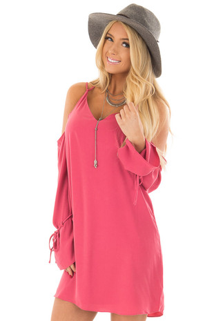 Berry Cold Shoulder Dress with Sleeve Tie Details front close up