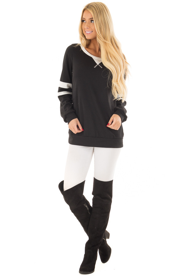 Black Top with Ivory Stripe Contrast front full body