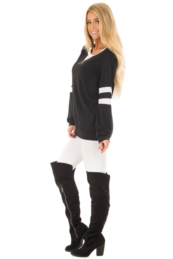 Black Top with Ivory Stripe Contrast side full body