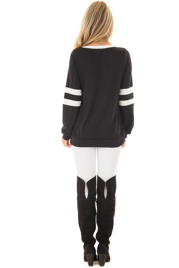 Black Top with Ivory Stripe Contrast back full body