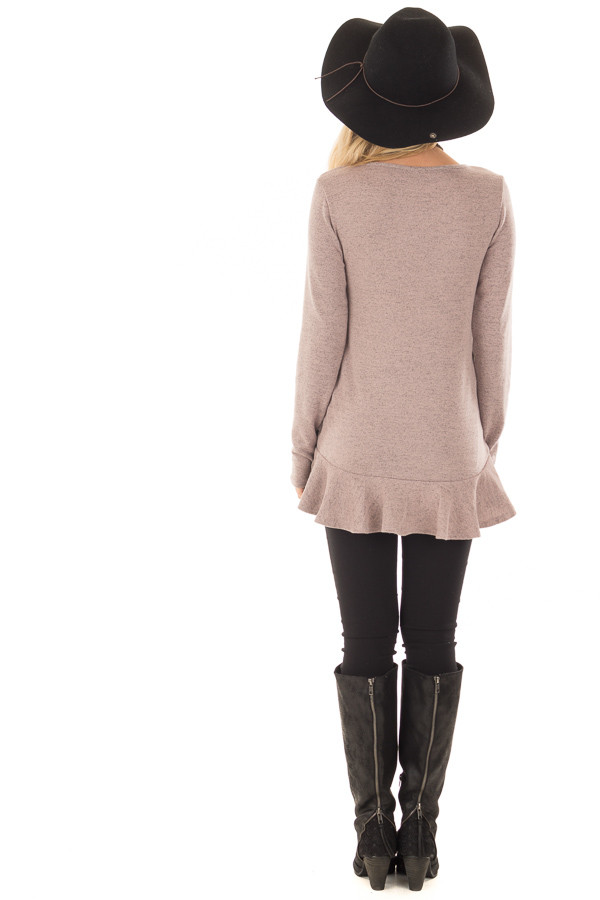 Dusty Mauve Two Tone Tunic with Ruffle Detail back full body