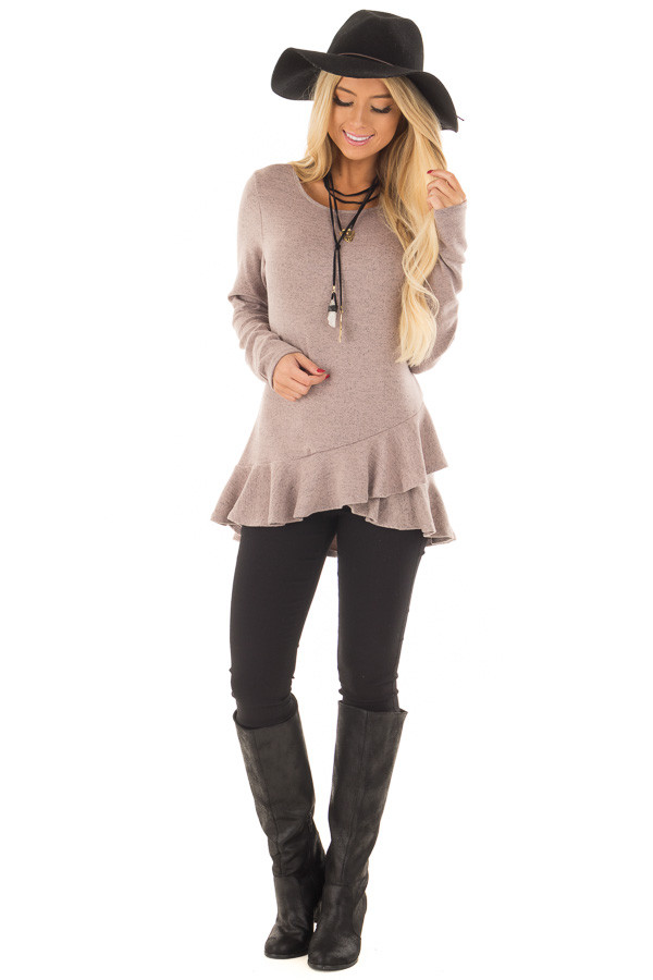 Dusty Mauve Two Tone Tunic with Ruffle Detail front full body