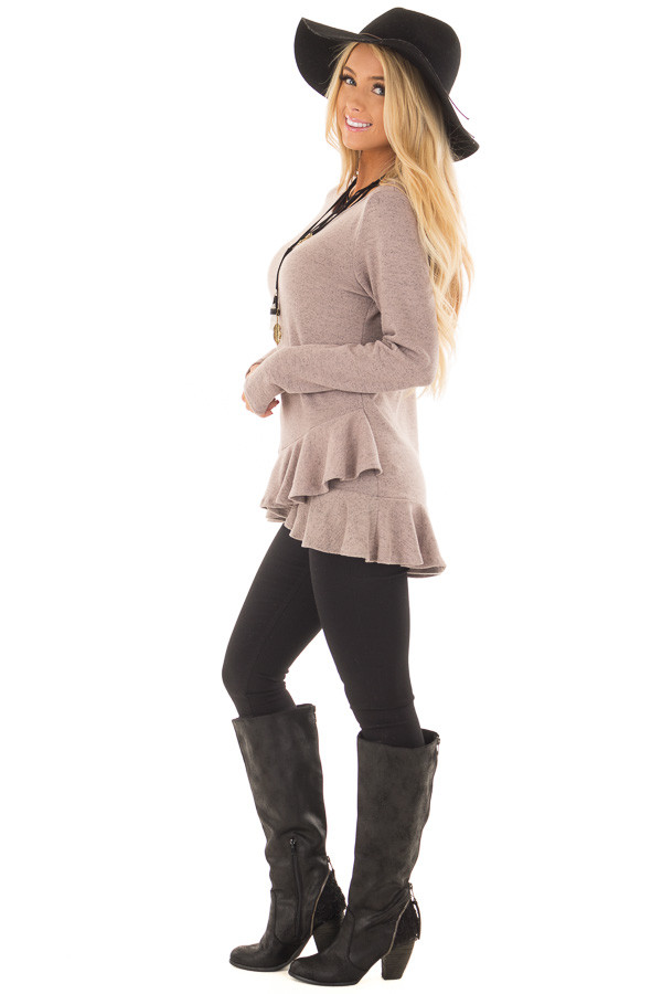 Dusty Mauve Two Tone Tunic with Ruffle Detail side full body