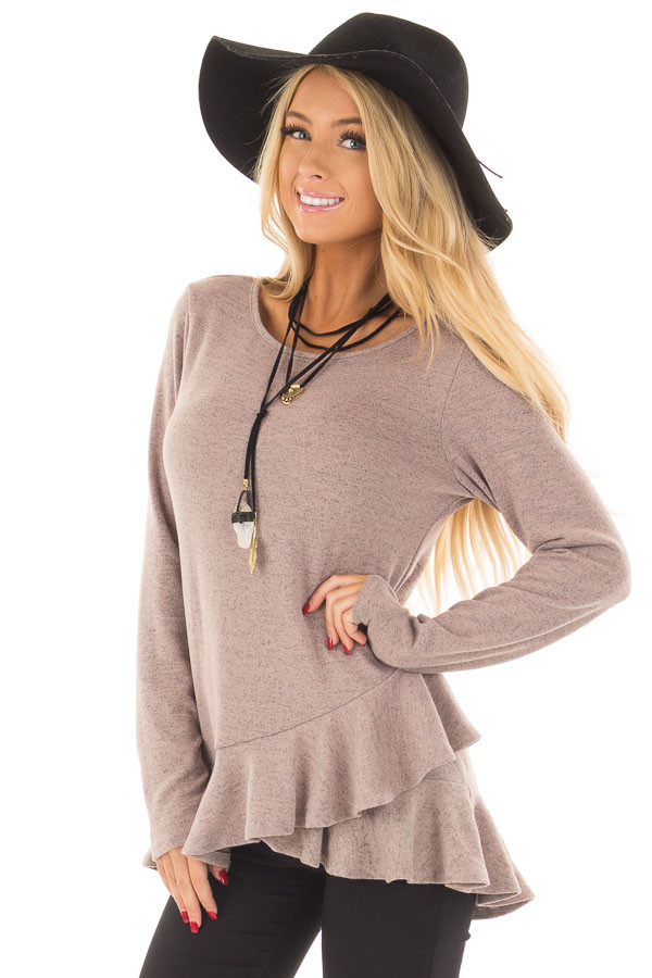 Dusty Mauve Two Tone Tunic with Ruffle Detail front closeup