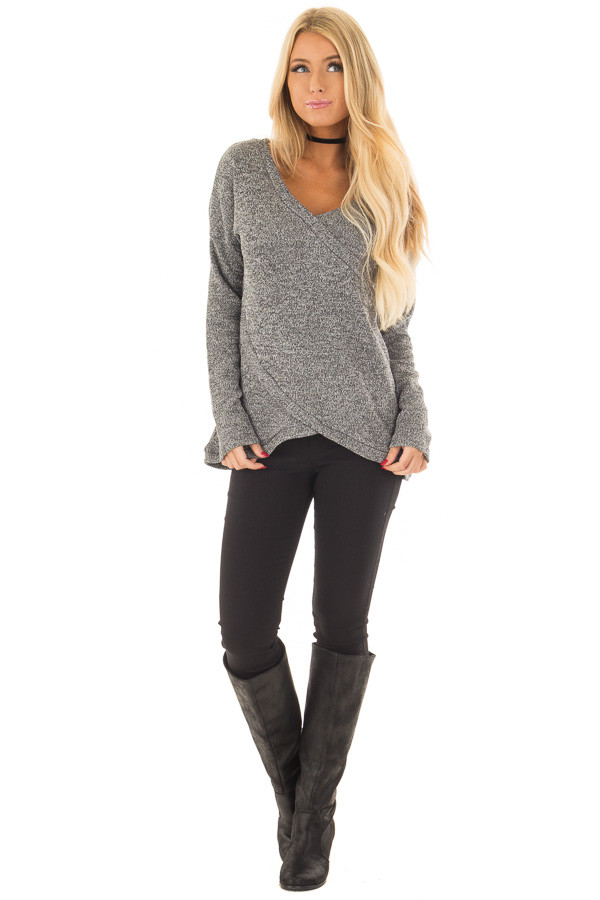 Charcoal Crossover V Neck Long Sleeve Sweater front full body