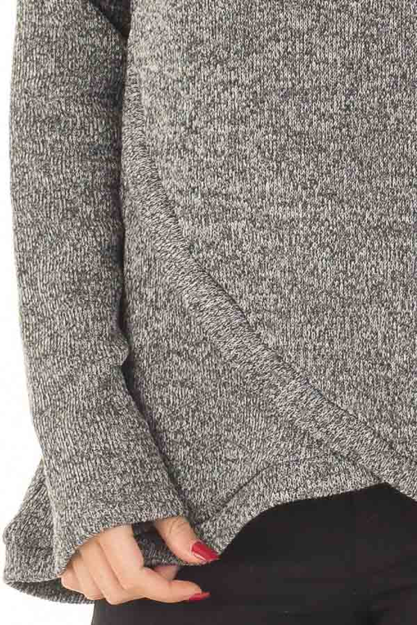 Charcoal Crossover V Neck Long Sleeve Sweater front detail