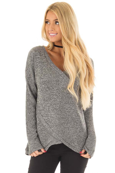 Charcoal Crossover V Neck Long Sleeve Sweater front closeup