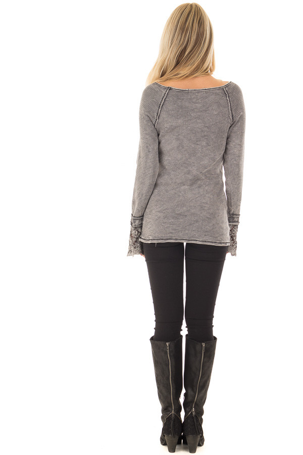 Charcoal Mineral Wash Ribbed Top with Lace Cuffs back full body