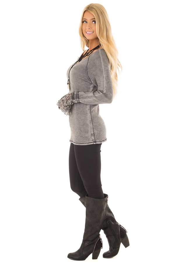 Charcoal Mineral Wash Ribbed Top with Lace Cuffs side full body