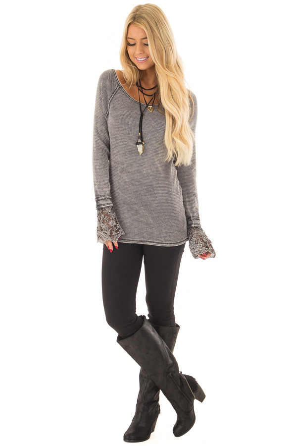 Charcoal Mineral Wash Ribbed Top with Lace Cuffs front full body