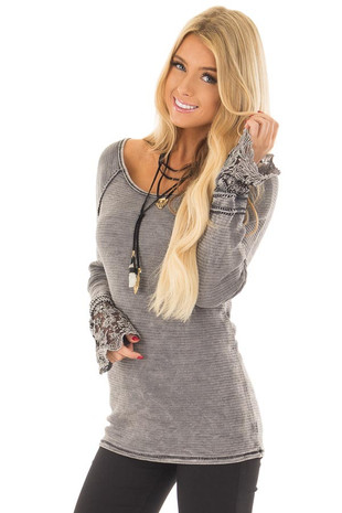 Charcoal Mineral Wash Ribbed Top with Lace Cuffs front closeup