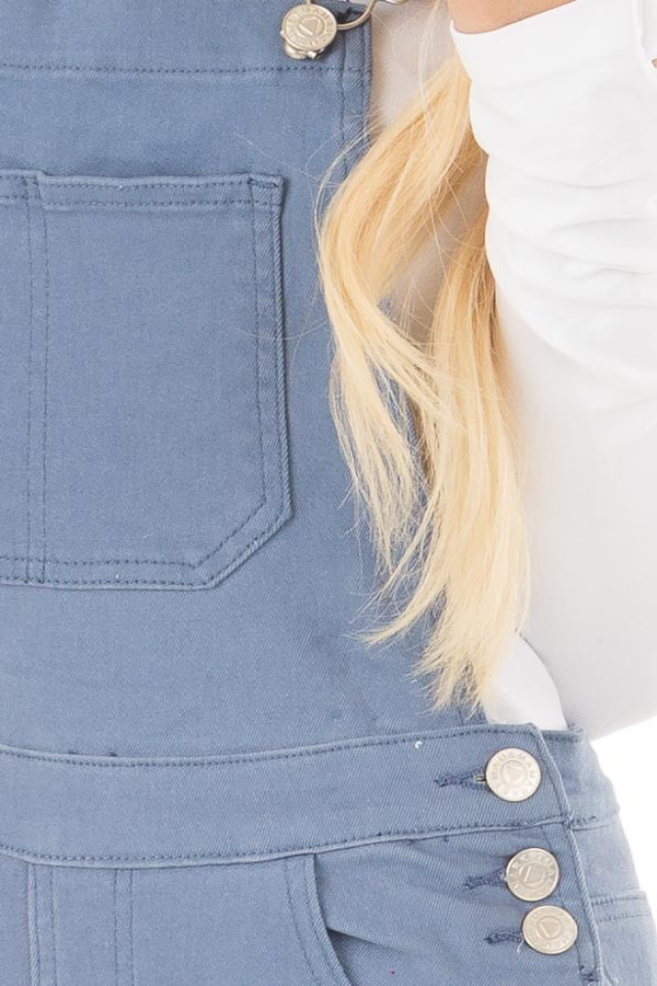 Blue Colored Denim Overalls front detail