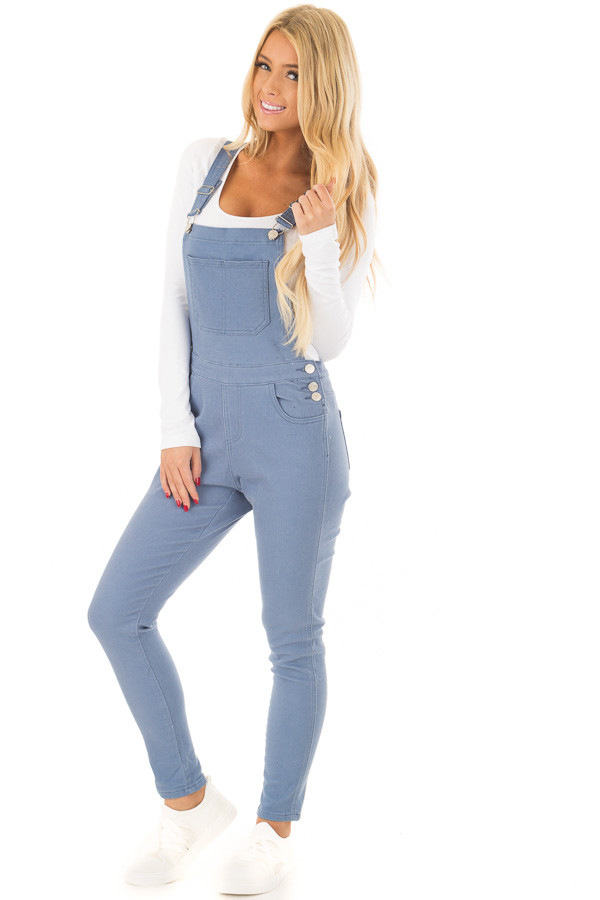 Blue Colored Denim Overalls front full body
