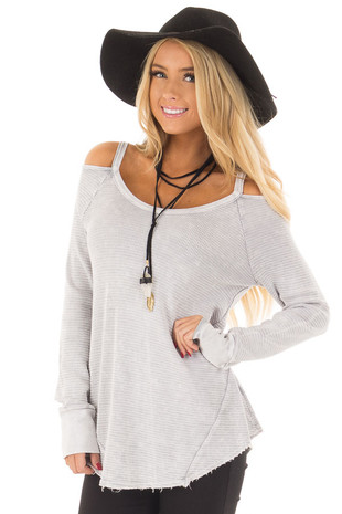 Light Grey Ribbed Knit Cold Shoulder Long Sleeve Top front closeup
