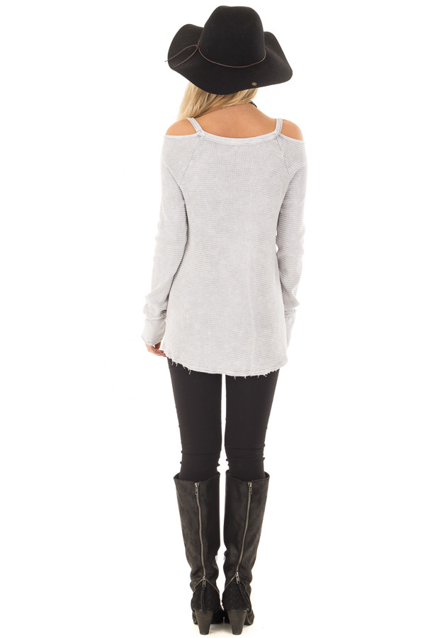 Light Grey Ribbed Knit Cold Shoulder Long Sleeve Top back full body