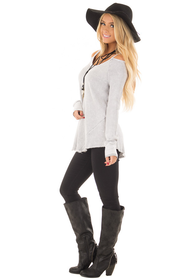 Light Grey Ribbed Knit Cold Shoulder Long Sleeve Top side full body