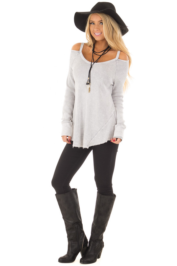 Light Grey Ribbed Knit Cold Shoulder Long Sleeve Top front full body