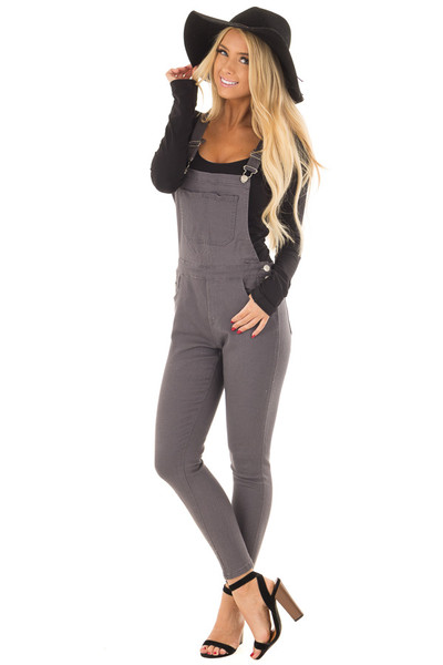Charcoal Colored Denim Overalls front full body