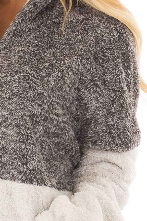 Charcoal and Light Grey Color Block Sherpa Jacket front detail