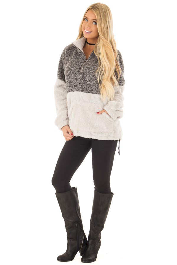 Charcoal and Light Grey Color Block Sherpa Jacket front full body