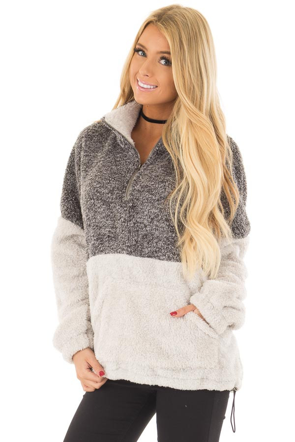 Charcoal and Light Grey Color Block Sherpa Jacket front closeup