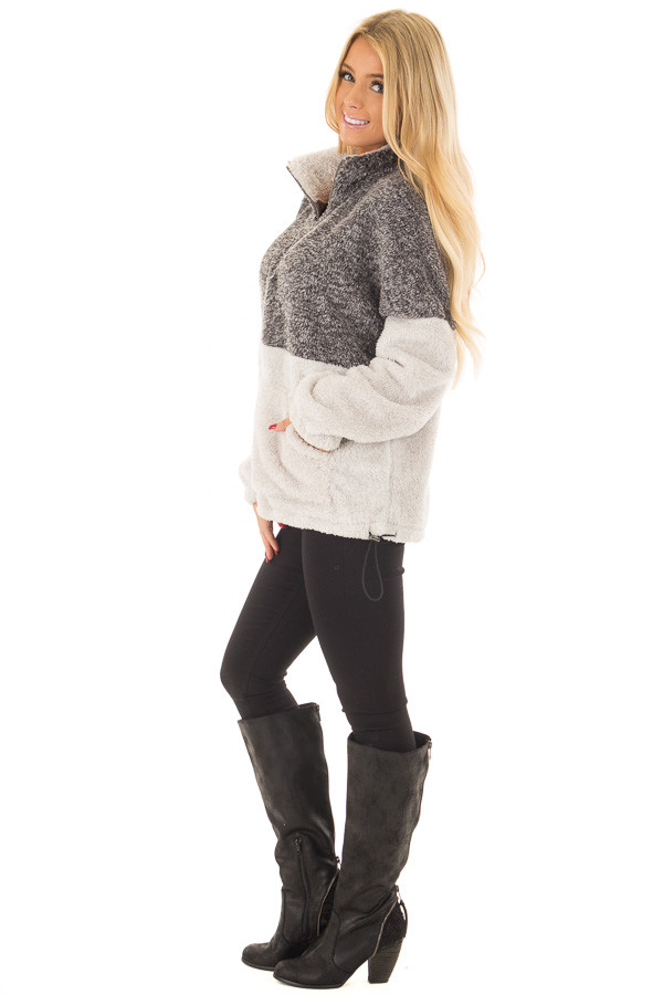Charcoal and Light Grey Color Block Sherpa Jacket side full body