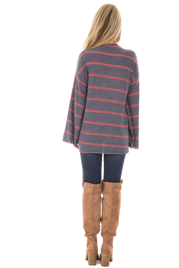 Navy and Burgundy Striped High Neck Top with Front Tie back full body