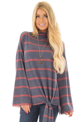 Navy and Burgundy Striped High Neck Top with Front Tie front closeup