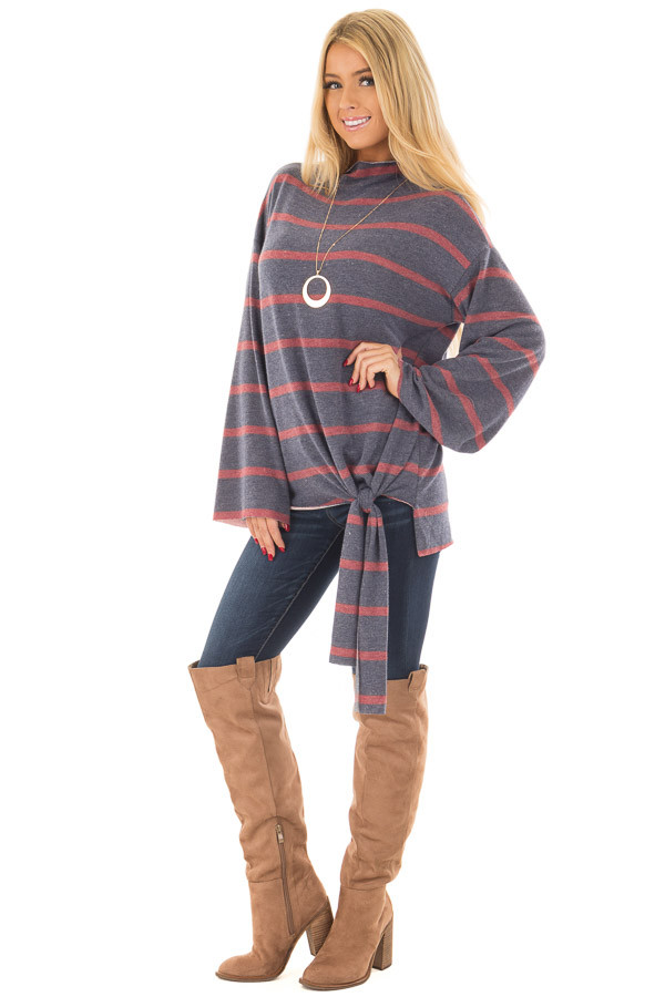 Navy and Burgundy Striped High Neck Top with Front Tie front full body