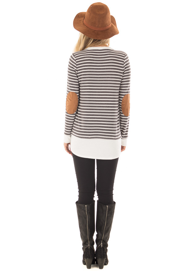 Charcoal and Ivory Striped Top with Elbow Patches back full body